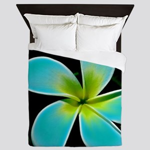 Turquoise Yellow White Flower Queen Duvet
