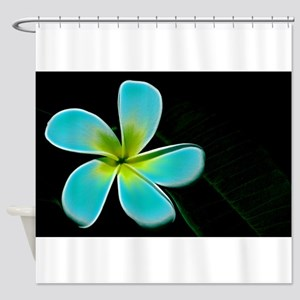 Turquoise Yellow White Flower Shower Curtain