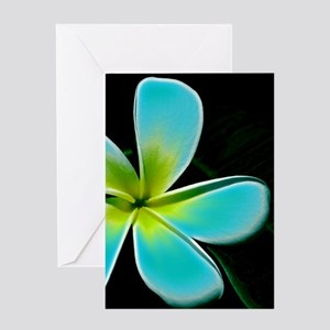 Turquoise Yellow White Flower Greeting Cards