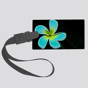 Turquoise Yellow White Flower Large Luggage Tag