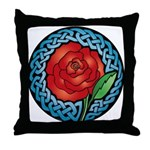 Celtic Rose Stained Glass Throw Pillow