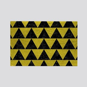 TRIANGLE2 BLACK MARBLE & YELLOW L Rectangle Magnet
