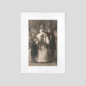 Christmas Girls and Snowman Vintage 5'x7'Area Rug