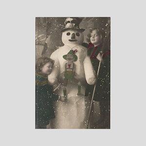 Christmas Girls and Snowman Vinta Rectangle Magnet