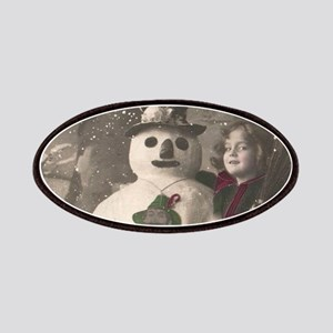 Christmas Girls and Snowman Vintage Patch