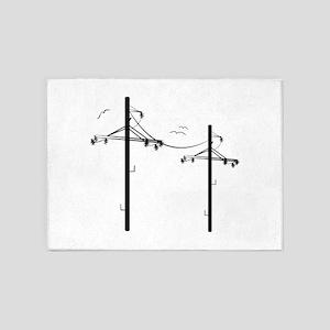 Telephone Poles 5'x7'Area Rug