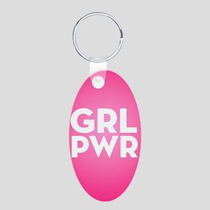 Girl Power Aluminum Oval Keychain