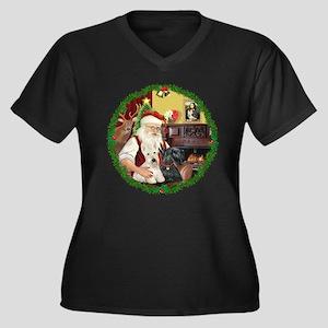 Santa's Two Scotties (P2) Women's Plus Size V-Neck