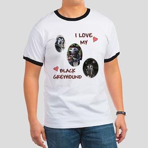 I Love My Black Greyhound Ringer T