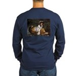 Young Lady in a Boat by T Long Sleeve Dark T-Shirt