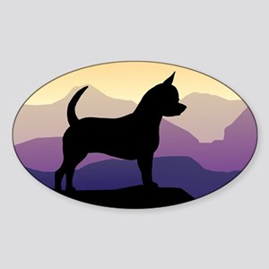 Chihuahua Purple Mountains Oval Sticker