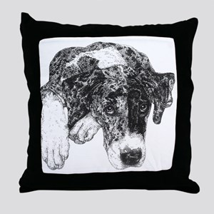 Nat Ear Merle Great Dane in dots Throw Pillow