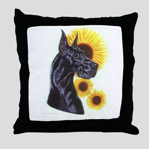 Black Great Dane w/ Sunflowers Throw Pillow
