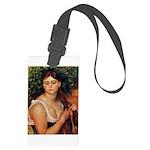 Girl Braiding Her Hair by Renoir Large Luggage Tag