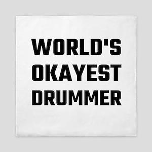 World's Okayest Drummer Queen Duvet