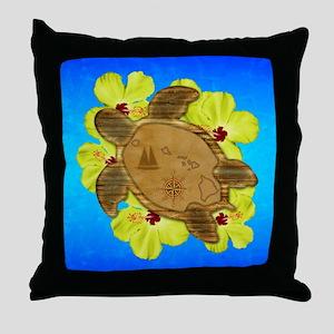 Hawaiian Turtle Nautical Map Throw Pillow