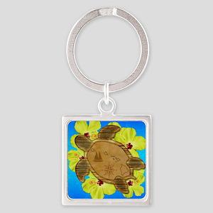 Hawaiian Turtle Nautical Map Keychains
