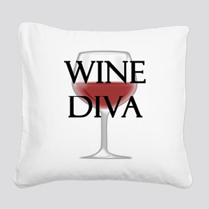 Wine Diva Square Canvas Pillow