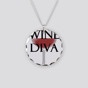Wine Diva Necklace Circle Charm