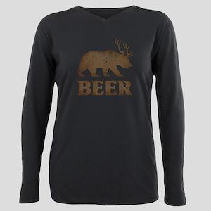 Vintage Yellow Bear+Deer=Beer Plus Size Long Sleev