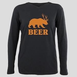 Bear+Deer=Beer Plus Size Long Sleeve Tee