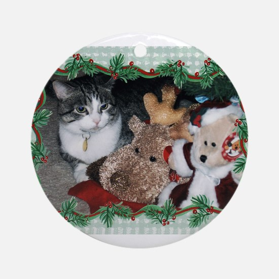 Meowy Christmas Ornament (Round)