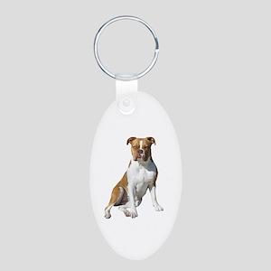 American Bulldog (brn-W) Aluminum Oval Keychain