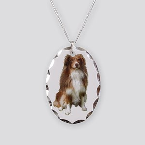 AUSSIE SHEP - Red-Wht Necklace Oval Charm