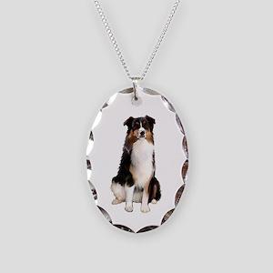 Australian Shep - Tri 3 Necklace Oval Charm