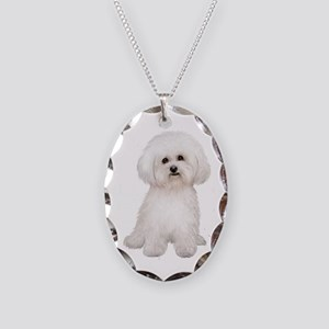 Bichon Frise (#2) Necklace Oval Charm