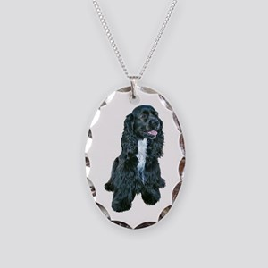 Cocker Spaniel - black w-white chest Necklace Oval
