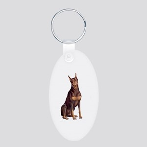 Red Doberman Aluminum Oval Keychain