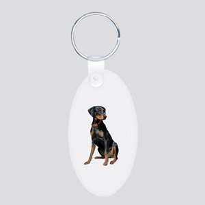Doberman (nat)-red c. Aluminum Oval Keychain