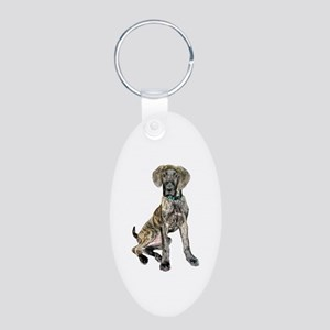 Great Dane puppy Aluminum Oval Keychain