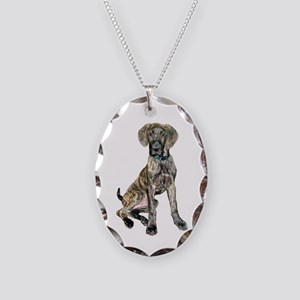 Great Dane puppy Necklace Oval Charm