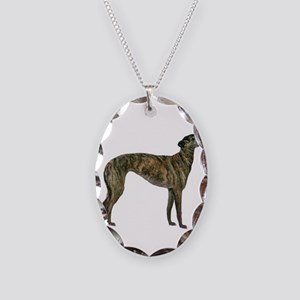 Brindle Greyhound Necklace Oval Charm