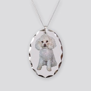 Poodle - Min White Necklace Oval Charm