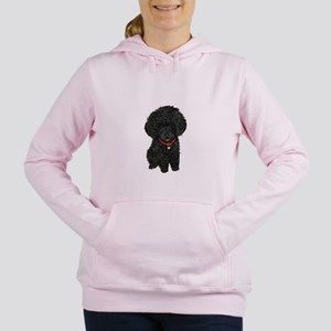 Black Poodle Puppy Women's Hooded Sweatshirt