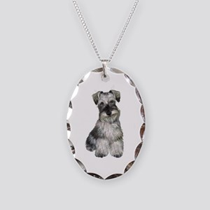 Schnauzer (natural 2) Necklace Oval Charm