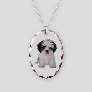 Shih Tzu Puppy (bw) Necklace Oval Charm