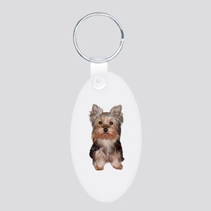 Yorkshire Terrier Puppy Aluminum Oval Keychain
