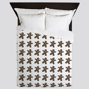 Cute Christmas Gingerbread Men Queen Duvet