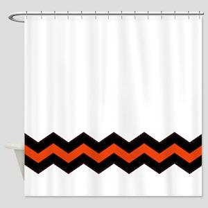 orange and black shower curtain. Orange and Black Chevron Accent Shower Curtain Curtains  CafePress