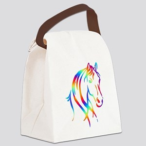 Colorful Horse Head Canvas Lunch Bag