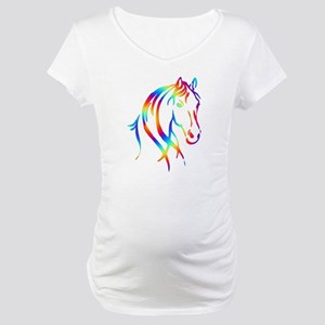 Colorful Horse Head Maternity T-Shirt