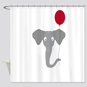Elephant head with red balloon Shower Curtain