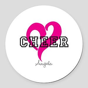 Love Cheer Heart Round Car Magnet