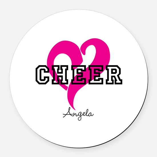 Love Cheer Heart Round Car Magnet