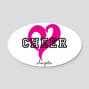 Love Cheer Heart Oval Car Magnet