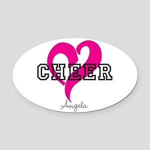 Love Cheer Heart Oval Car Magnet